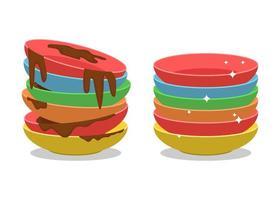 set di piatti sporchi e puliti in stile cartone animato vettore