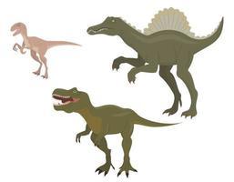 set di dinosauri predatori vettore