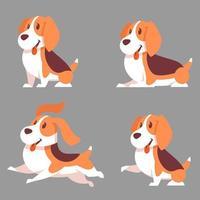 cane beagle in diverse pose vettore