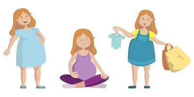 donna incinta in diverse pose vettore