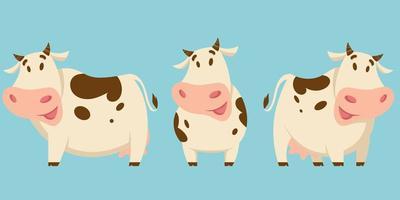 mucca in pose diverse vettore
