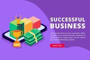 concetto isometrico di affari di successo vettore