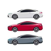 set di auto coupé moderne bianche, rosse e grigie