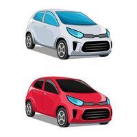 piccola automobile moderna rossa e bianca vettore