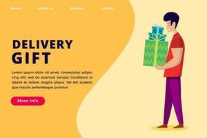 modello di pagina di destinazione del concetto di servizio regalo di consegna. vettore
