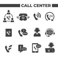 set di 12 icone di call center vettore