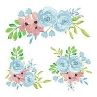 collezione di bouquet di fiori rosa dipinti a mano ad acquerello