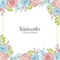 bordo del fiore rosa rustico dell'acquerello e cornice dorata