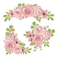 collezione di disposizione dei fiori rosa rosa acquerello vettore