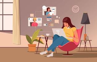 giovane donna che lavora al computer portatile a casa vettore