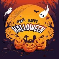 spettrale sfondo di halloween felice vettore