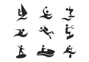 Vettore libero delle icone degli sport acquatici