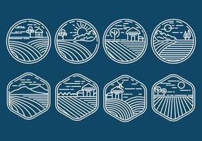Icone del campo di riso vettore