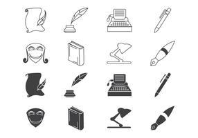Vettore libero dell'icona di scrittura e della letteratura