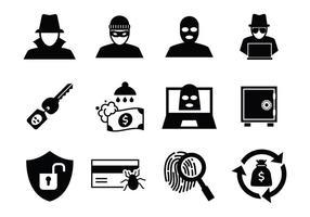 Vettore gratuito di icone di furto e ladro