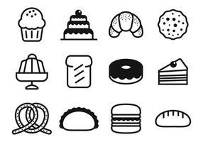 Vettore delle icone della torta e del forno
