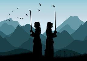 vettore libero di addestramento di montagna del kendo