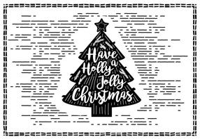 Vettore disegnato a mano d'annata della cartolina di Natale