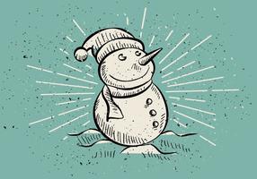 Fondo disegnato a mano d'annata del pupazzo di neve di Natale vettore