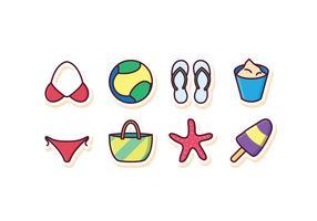 Set di icone spiaggia gratis vettore