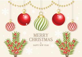 Ornamenti del ramo di vettore di Natale