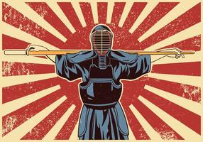 Combattenti di arti marziali di Kendo Sword vettore