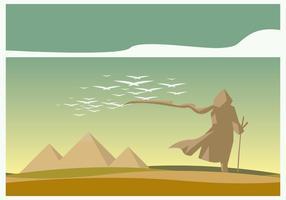 un uomo che cammina e un vettore del paesaggio della piramide