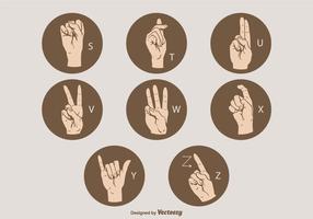 Set di lettere di lingua dei segni vettoriali S - Z