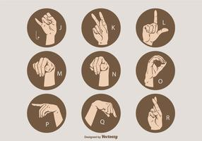 Set di lettere di lingua dei segni vettoriali J - R