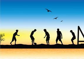 Vettore libero della siluetta della spiaggia di calcio