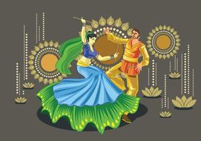 Disegno vettoriale di coppia eseguendo la danza popolare Garba dell'India