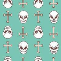 teschio e croce fatta di ossa pattern