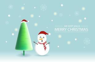disegno di Natale con simpatico pupazzo di neve e albero di Natale
