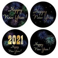 Grafica del cerchio di felice anno nuovo 2021 con fuochi d'artificio