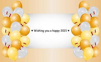 banner palloncino oro e bianco per i nuovi anni vettore