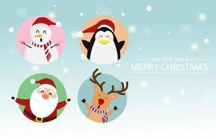disegno di Natale con Babbo Natale con, renne, pinguini, pupazzo di neve vettore
