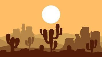 paesaggio tramonto nel deserto vettore