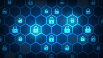 design di sicurezza informatica con serrature in esagono vettore