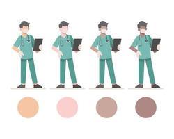 personaggi maschili mascherati di infermiere con appunti
