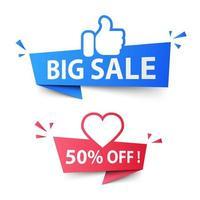 social media come e banner di vendita di cuore vettore