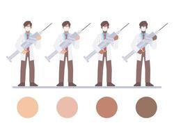 caratteri maschii del medico che tengono una siringa