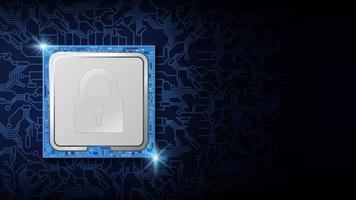 blocco di sicurezza informatica sul design elettronico del chip della cpu vettore