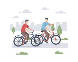 uomini che guidano le biciclette all'aperto vettore