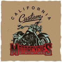 t shirt design motociclistico personalizzato california vettore