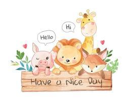 simpatici amici animali con cartello in legno