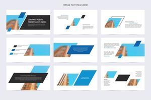 demo di presentazione della forma ad angolo bianco e blu dell'azienda