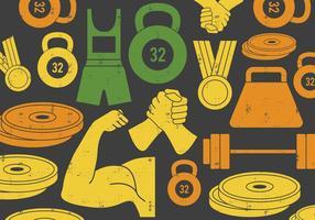 Sollevamento pesi e icona di braccio di ferro