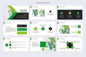 modello di presentazione aziendale moderno verde e bianco vettore