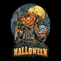 spaventapasseri di halloween che tiene la testa del cranio