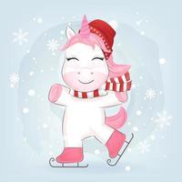 unicorno sui pattini da ghiaccio nella neve
